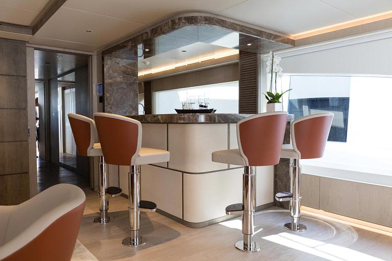 gulf craft majesty 140 price yacht for sale interior design by christiano gatto lower deck bar