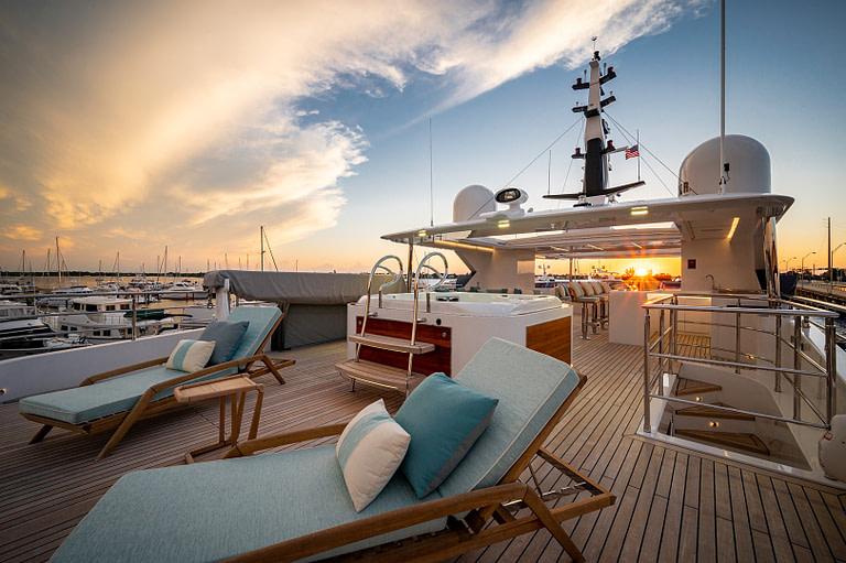 gulf craft majesty 140 price Sun Deck waterfall Jacuzzi sunset
